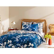 KAS Bettwäsche Felix blau mit Blättern