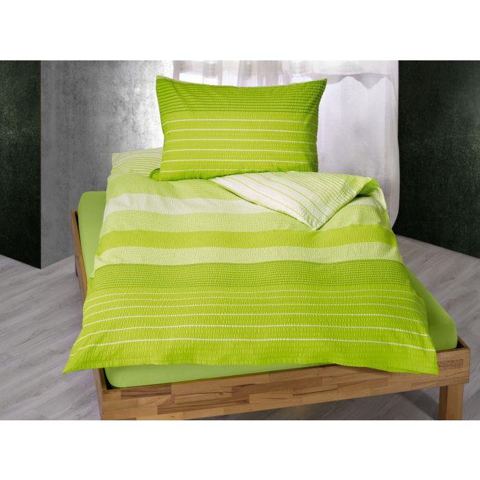 Bettwäsche gestreift in knalligem Hellgrün