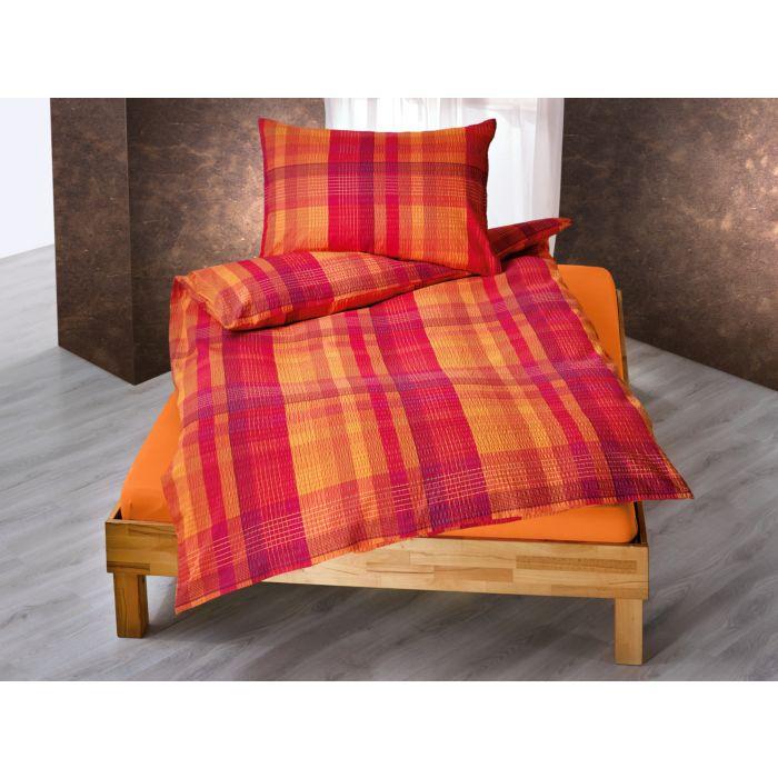 Bettwäsche quer- und längsgestreift in orange-violett