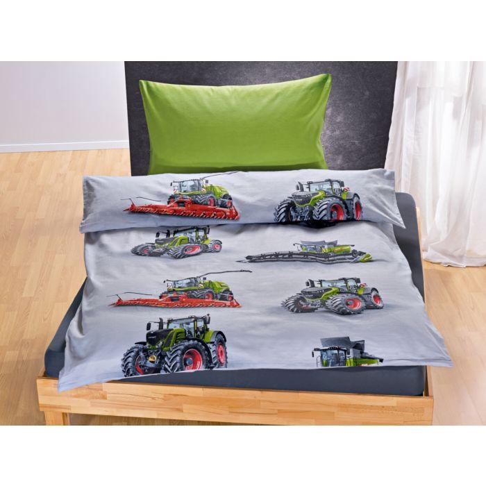 Bettwäsche weiss mit Landmaschinen