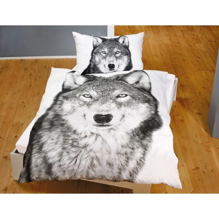 Bettwäsche Wolf in Schwarz-Weiss