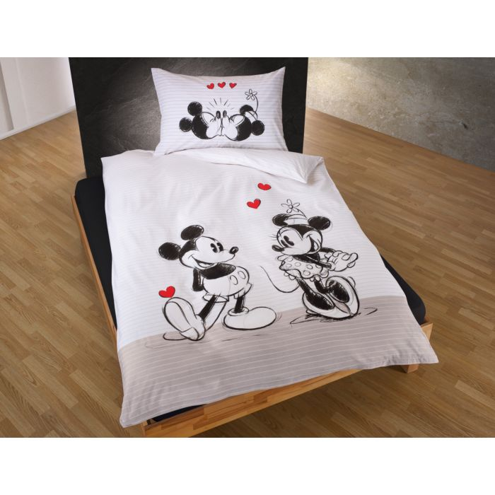 Bettwäsche Minnie und Mickey Mouse mit Herzen