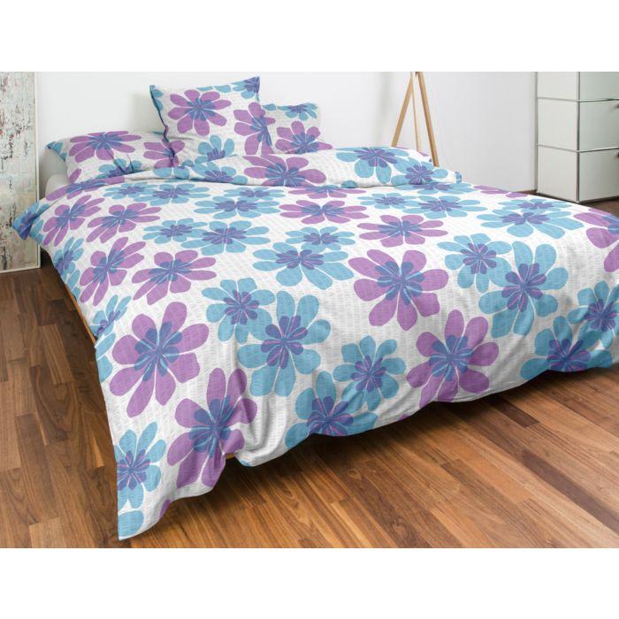 Bettwäsche grosse Blumen blau-lila