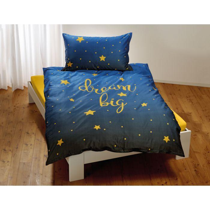 """Bettwäsche mit Sternen und """"dream big"""" Schriftzug in gelb auf marine farbigem Untergrund"""