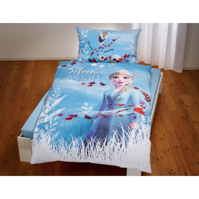 """Bettwäsche """"Die Eiskönigin"""" hellblau mit Elsa und Olaf"""