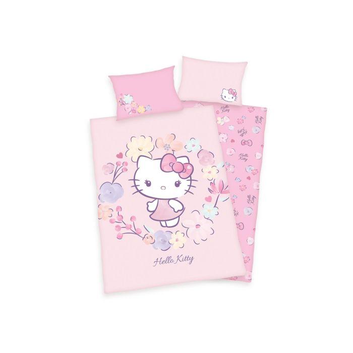 Bettwäsche Hello Kitty rosa mit Blumen