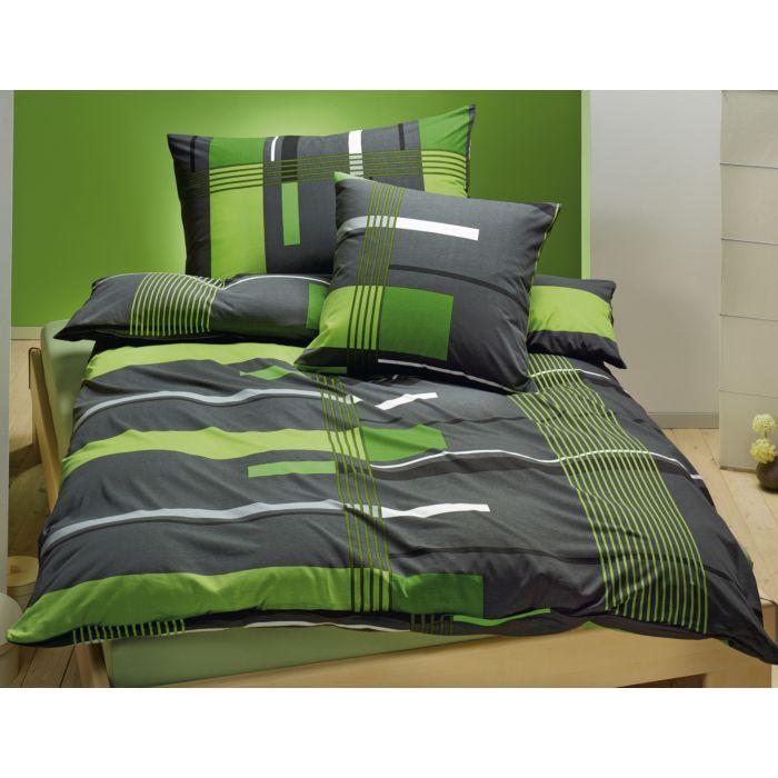 Bettwäsche grün-grau gemustert
