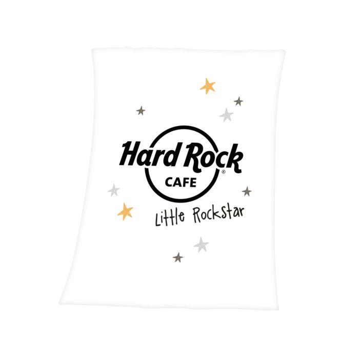 """Kuscheldecke """"Hard Rock Cafe - Little Rockstar"""" weiss"""