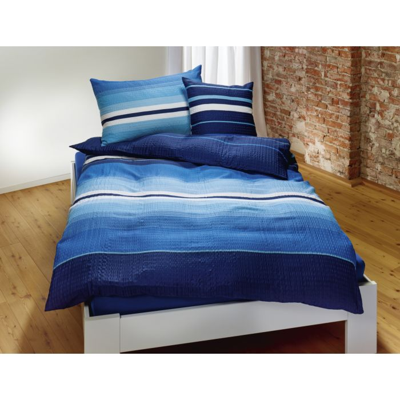 Bettwäsche mit Streifenmuster in blau