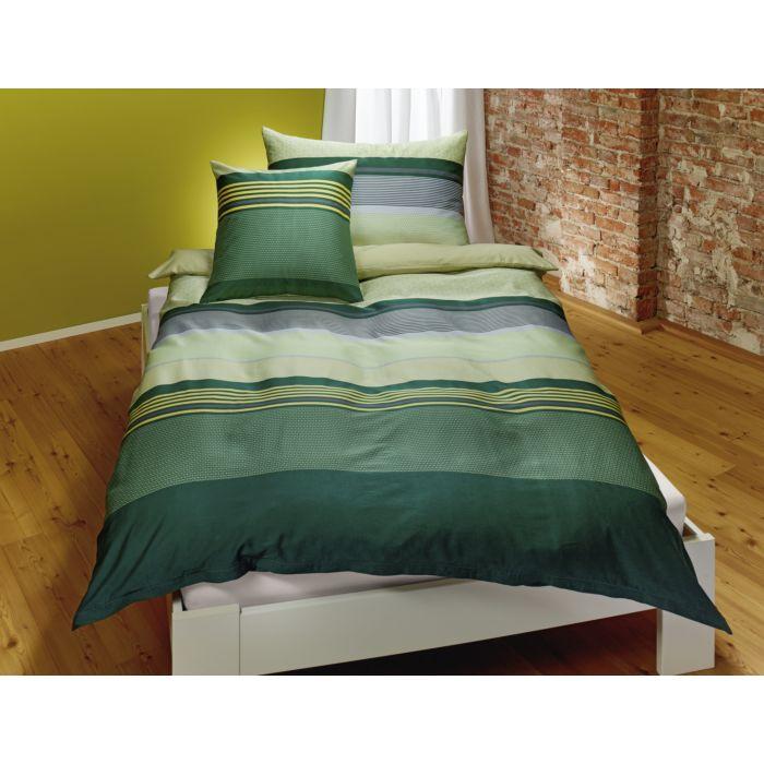 Bettwäsche dicke Streifen grün