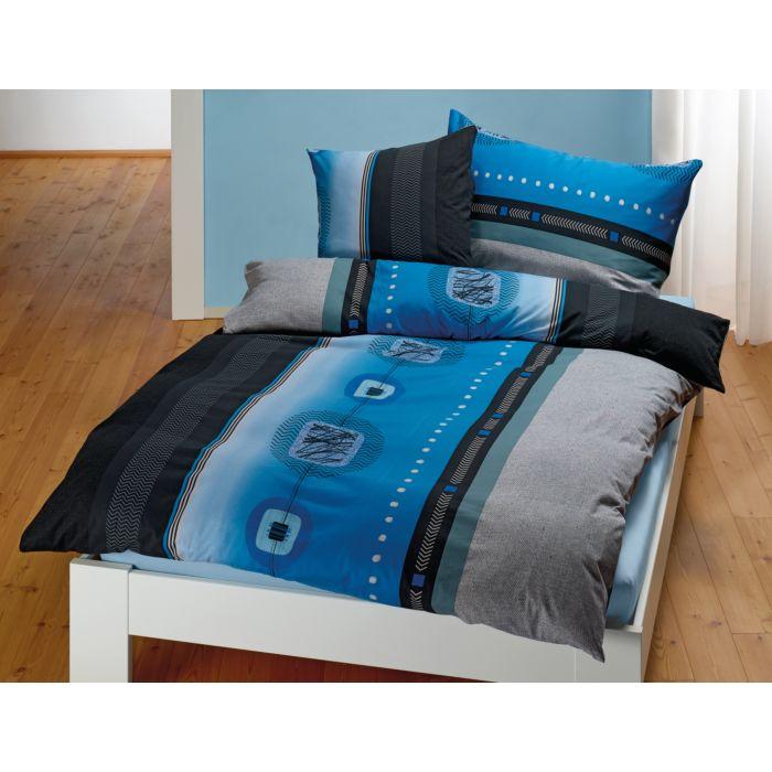 Bettwäsche mit grafischem Dessin in blau-anthrazit-schwarz