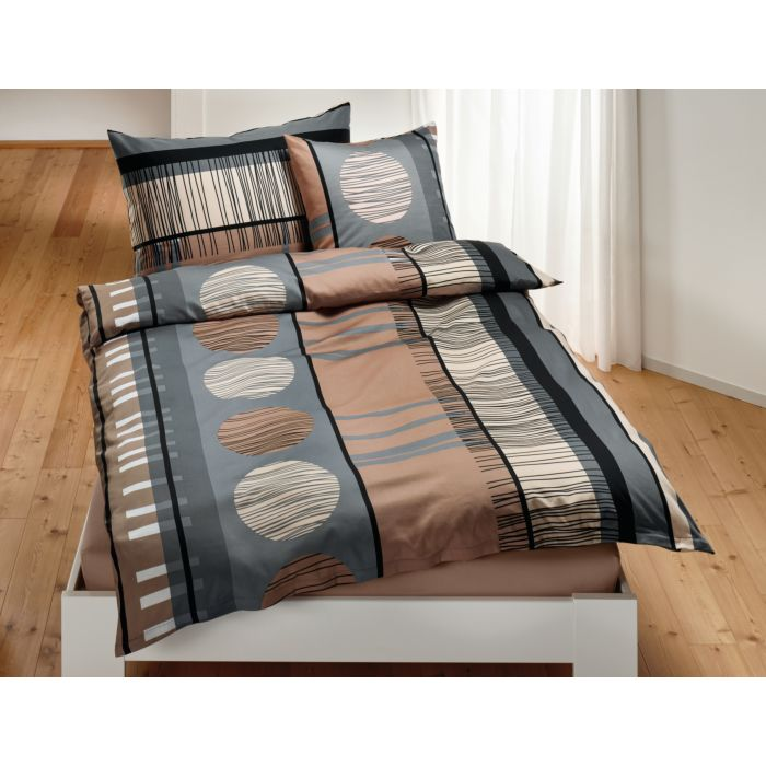 Bettwäsche schwarz-braun-grau mit Streifen- und Kreismuster