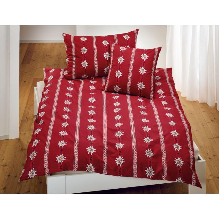Bettwäsche in rot im Edelweiss-Design