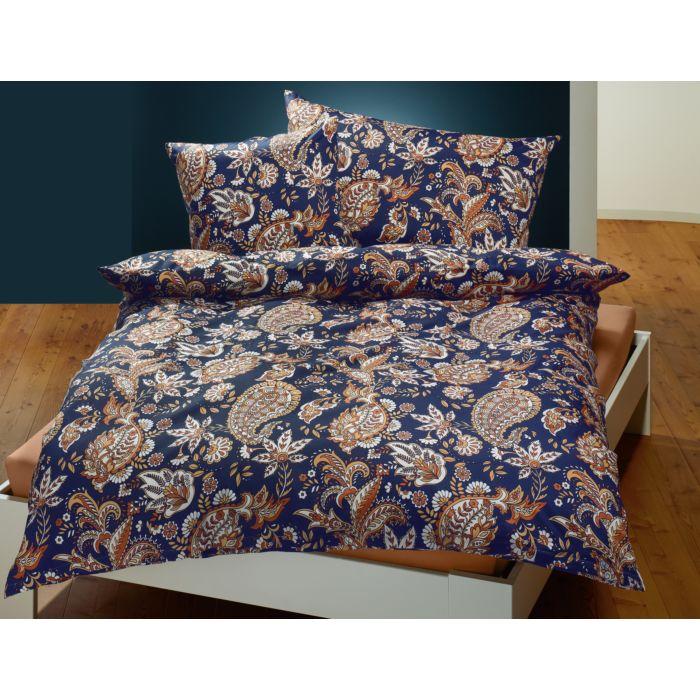 Bettwäsche orientalisches Blumen-Muster beige-blau