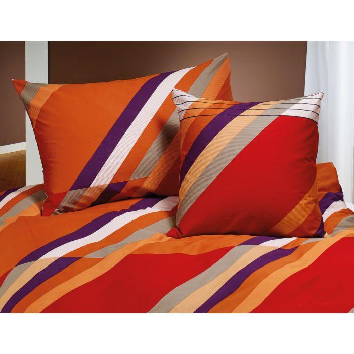 Bettwäsche Mit Streifen In Rot Orange Und Weiss