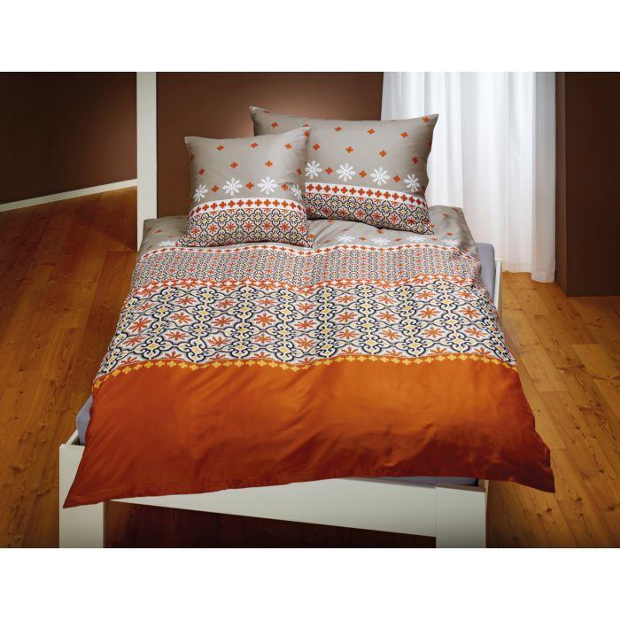 Bettwäsche Mosaik-Muster beige-orange-gelb-weiss