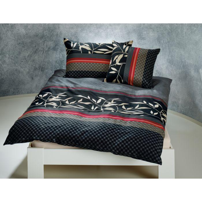 Bettwäsche schwarz mit Streifen und Blattmuster