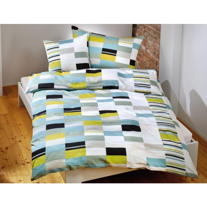Bettwäsche mit Muster aus Kacheln blau-grün-schwarz