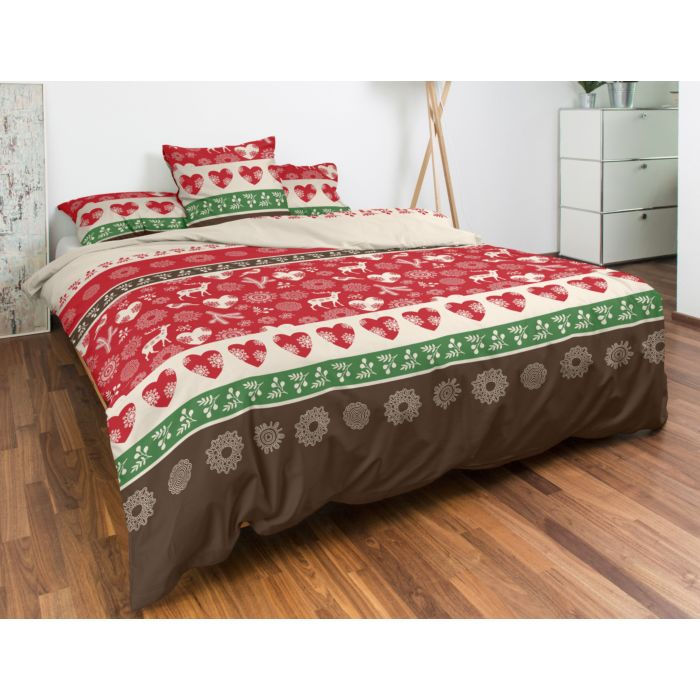 Bettwäsche weihnachtliche Herzen, Rentiere, Zweige und Eisblumen rot, beige, grün