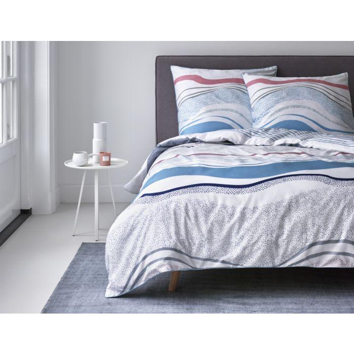 ESPRIT Bettwäsche mit Wellenmuster weiss-blau-rot