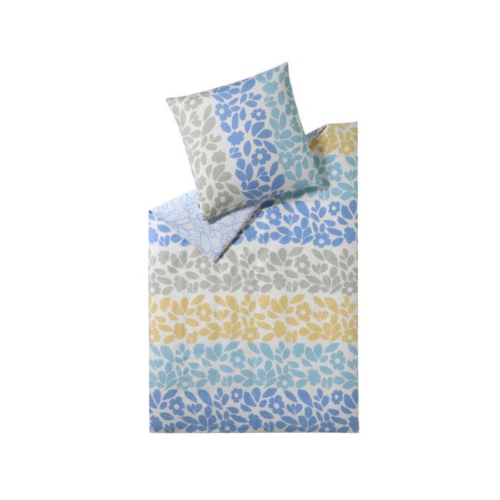 ESPRIT Bettwäsche mit Blumen und Blättern in Blau-Gelb-Grau